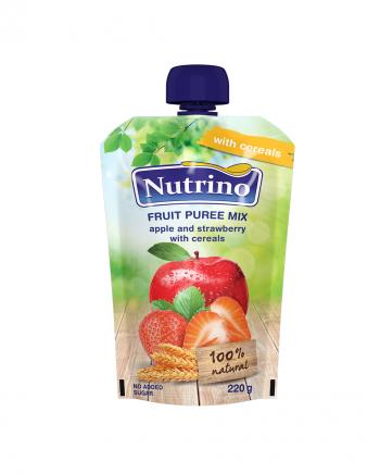 Nutrino pouch jabolko in jagoda z žitaricami - Merit