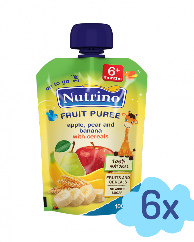 Nutrino pouch jabokolo hruška banana z žitaricami - Merit