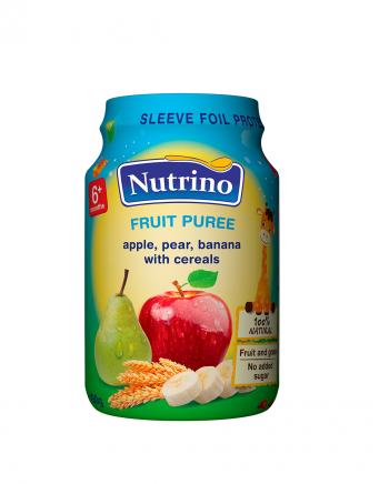 Nutrino - jabolko, hruška in banana z žiti - Merit