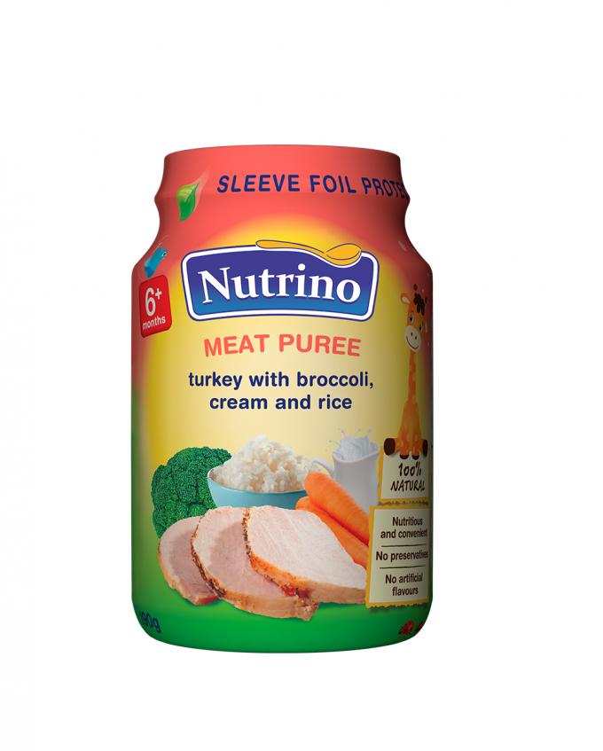 Nutrino - mesni pire - puran z brokolijem, smetano in rižem - Merit
